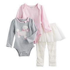 Baby Girl Nannette Poodle & Polka-Dot Bodysuits & Lace Skirt Leggings Set