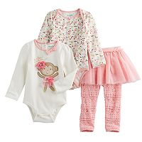Baby Girl Nannette Monkey & Floral Bodysuits & Lace Skirt Leggings Set
