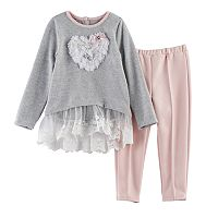 Toddler Girl Nannette Heart Ruffle Top & Leggings Set