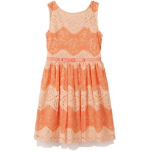 Girls 7-16 Speechless Two-Tone All-Over Lace Dress!
