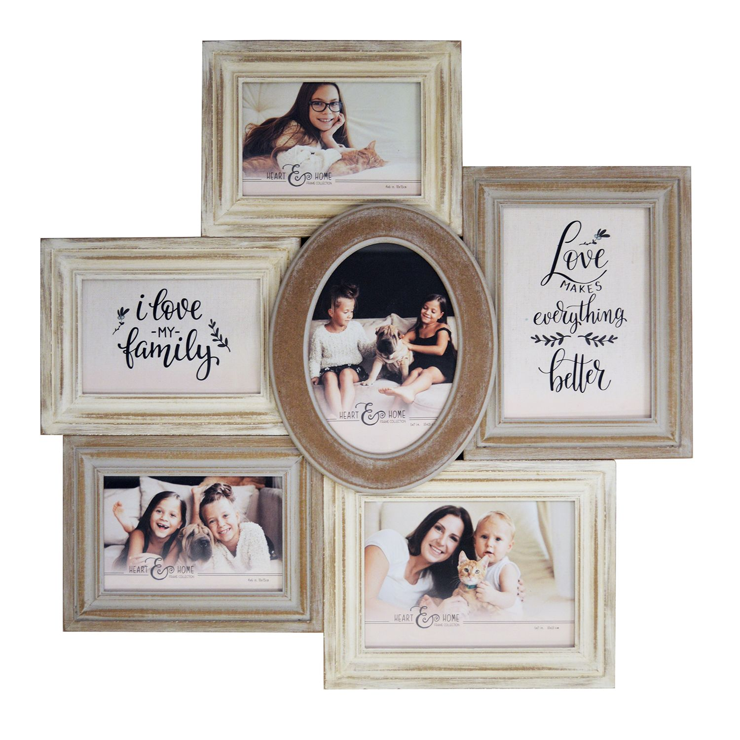 new view rustic shabby chic 6opening collage frame - Collage Photo Frames