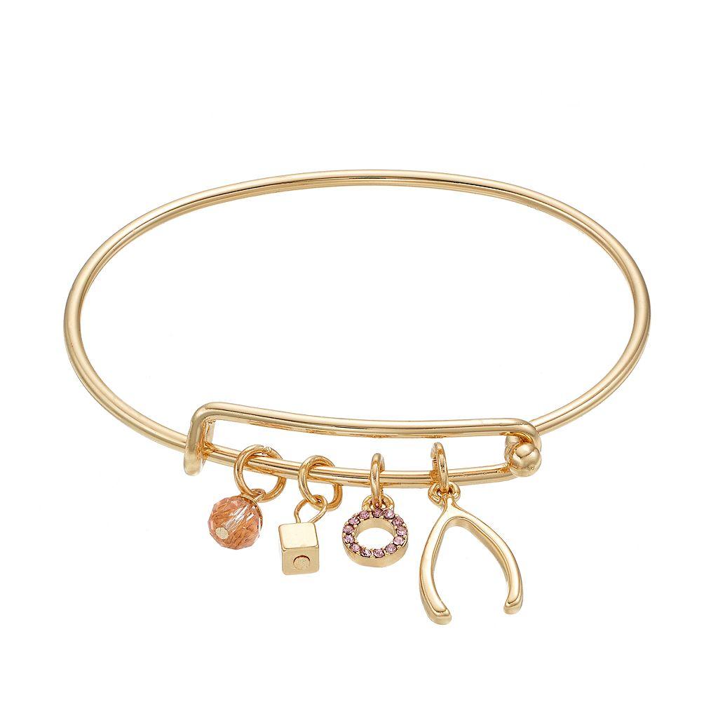 Wishbone & Cube Charm Adjustable Bangle Bracelet
