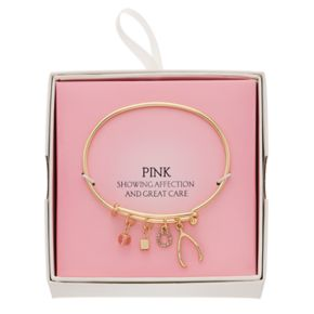 Wishbone & Cube Charm Adjustable Bangle Bracelet