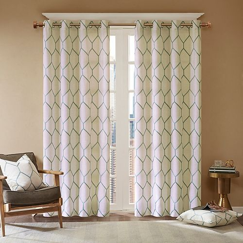 Madison Park 1-Panel Asher Metallic Embroidered Window Curtain