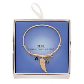 Blue Wing Charm Adjustable Bangle Bracelet
