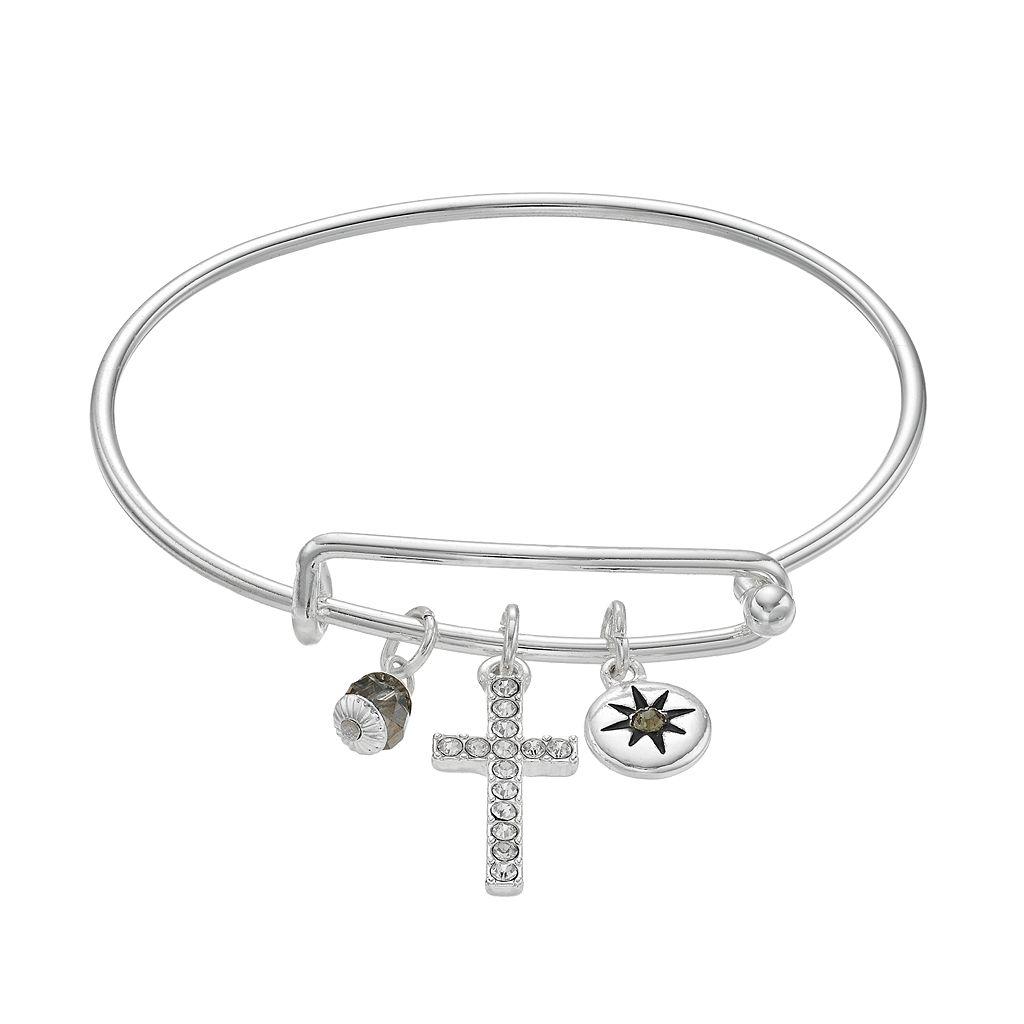 Cross & Starburst Charm Adjustable Bangle Bracelet