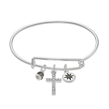 Cross & Starburst Charm Adjustable Bangle Bracelet