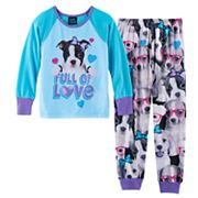 Girls 4-16 Jellifish Sublimated Graphic Top & Bottoms Pajama Set