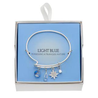 Blue Starburst Charm Adjustable Bangle Bracelet