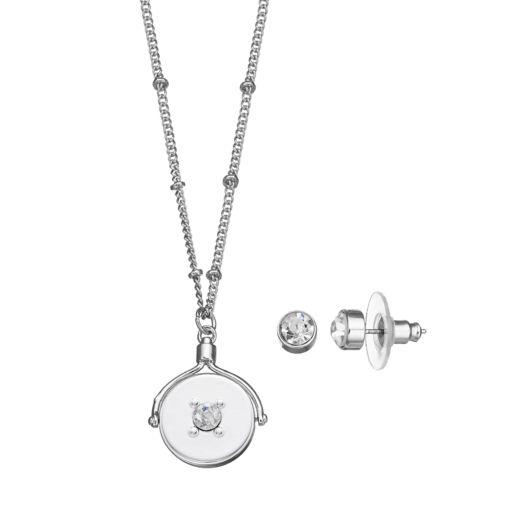 """Best Friends Forever"" Spinning Pendant Necklace & Stud Earring Set"