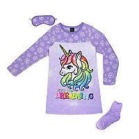 Girls 4-16 Jellifish Fleece Night Gown, Eye Mask & Socks Pajama Set