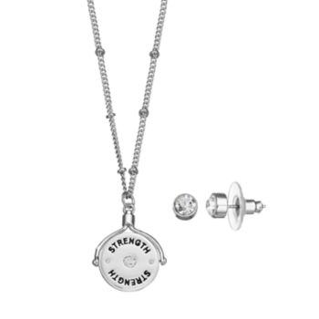 """Strength"" Spinning Pendant Necklace & Stud Earring Set"
