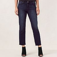 Women's LC Lauren Conrad Faded Fringe Slim-Straight Jeans