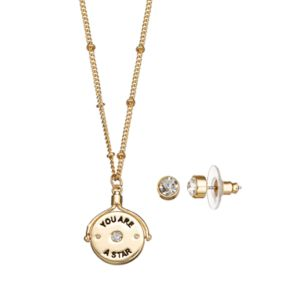 """You Are A Star"" Spinning Pendant Necklace & Stud Earring Set"