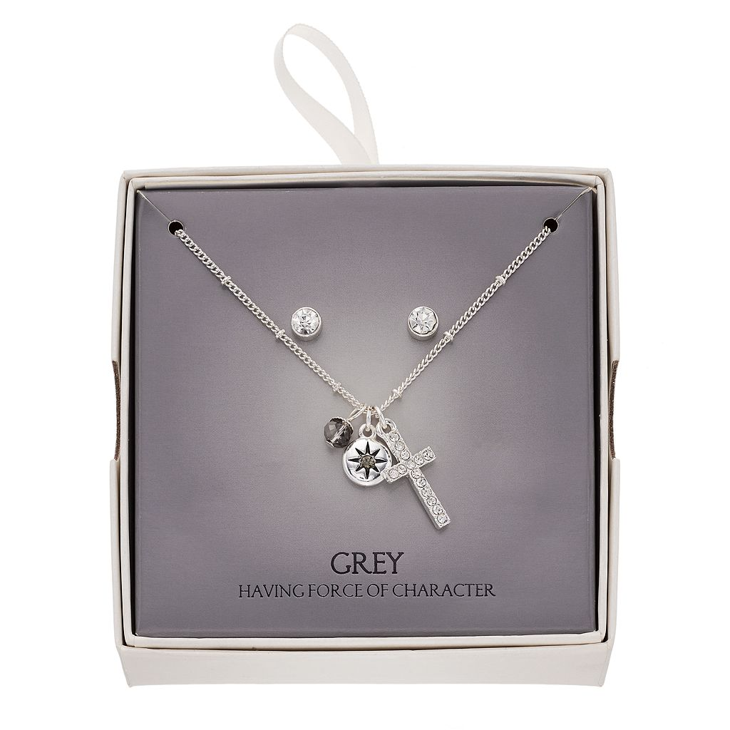Cross Charm Necklace & Stud Earring Set