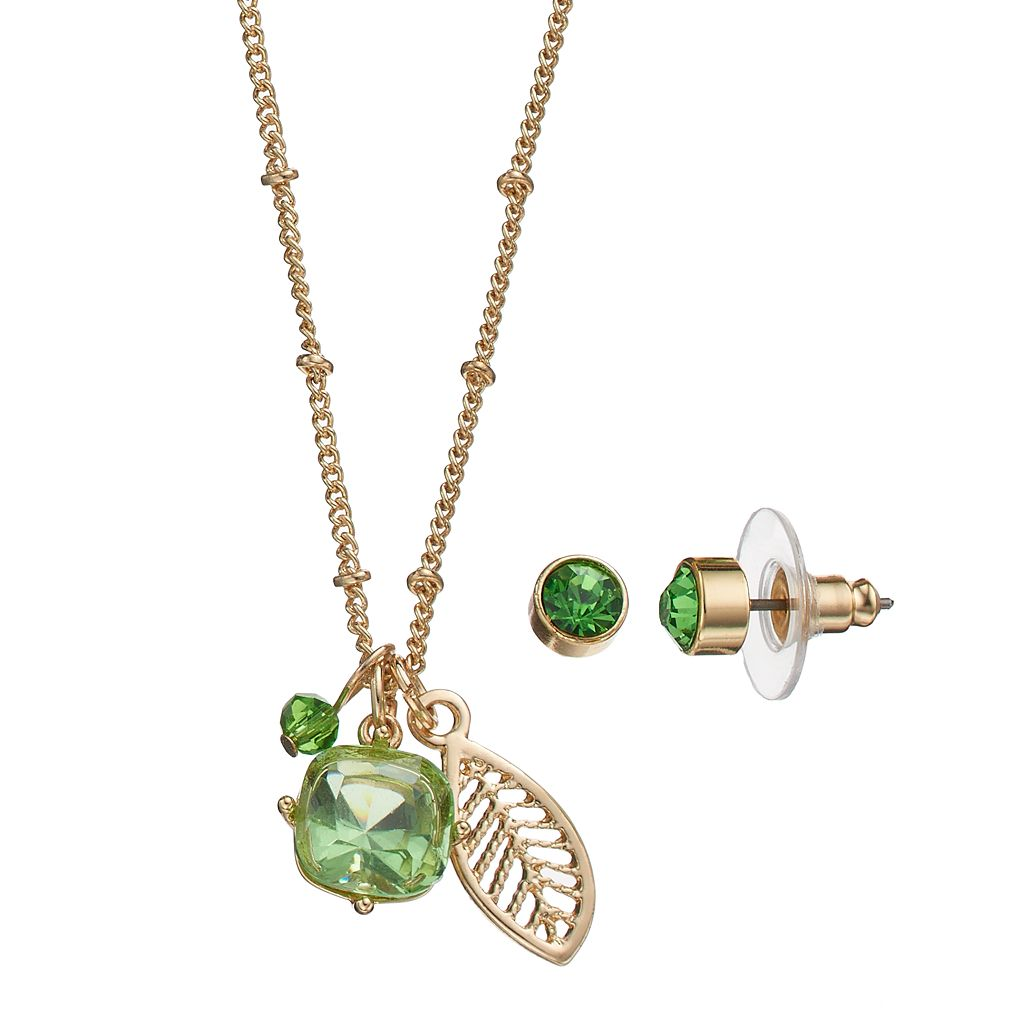 Green Leaf Charm Necklace & Stud Earring Set