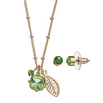 Green Leaf Charm Necklace & Stud Earring Set