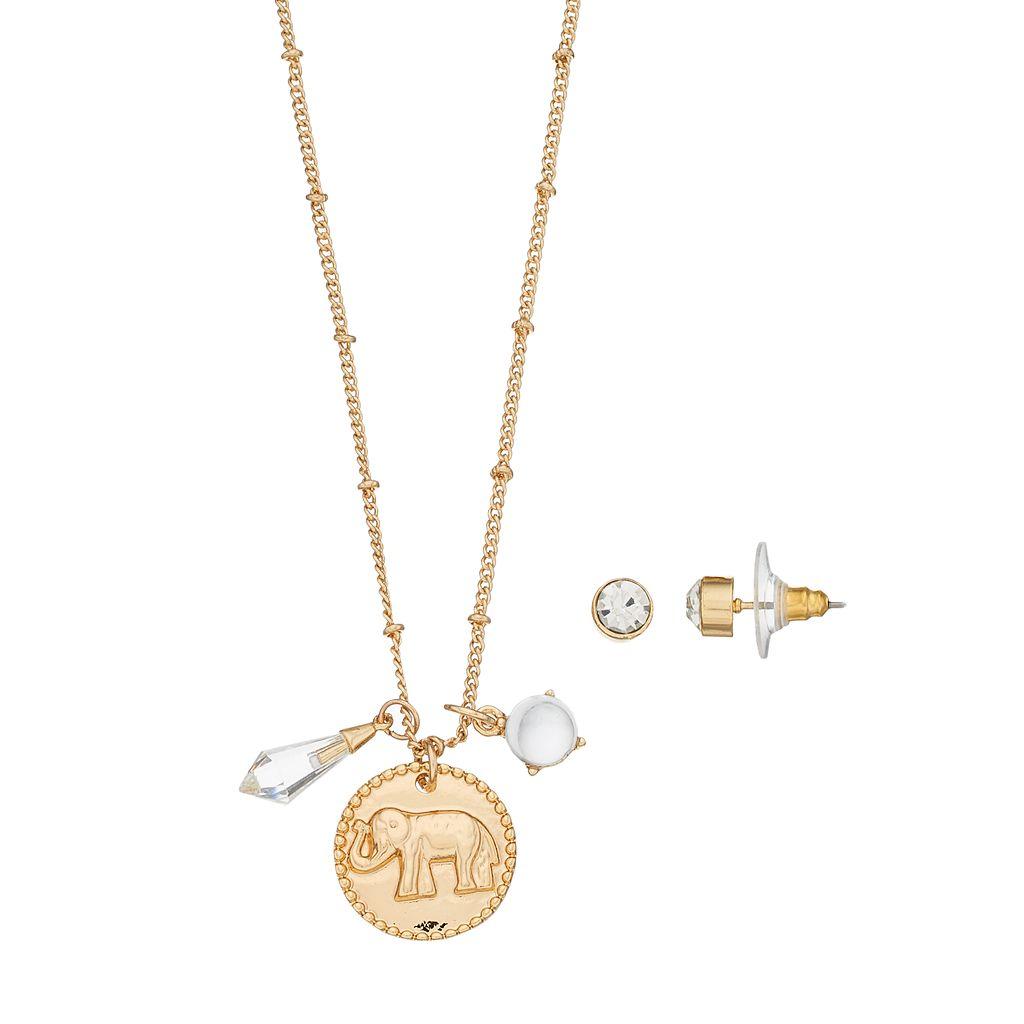 Elephant Charm Necklace & Stud Earring Set