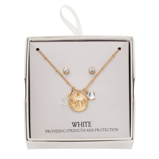 Elephant Charm Necklace & Stud Earring Set