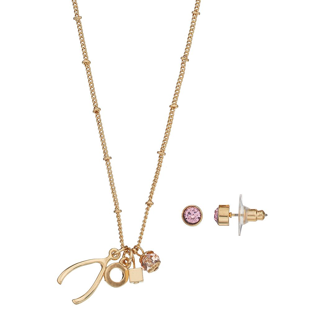 Wishbone Charm Necklace & Stud Earring Set