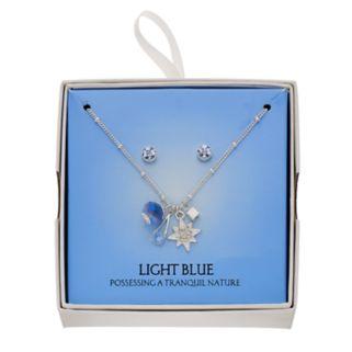 Blue Starburst Charm Necklace & Stud Earring Set