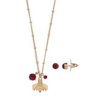 Red Bee Charm Necklace & Stud Earring Set