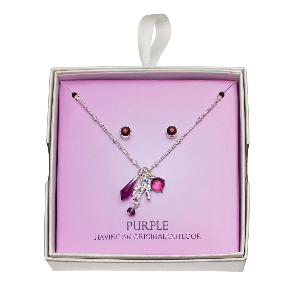 Purple Bird Charm Necklace & Stud Earring Set