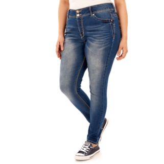 Juniors' Plus Size Wallflower Luscious Curvy Embroidered Skinny Jeans