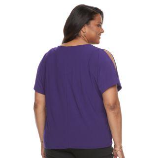 Plus Size Dana Buchman Cold-Shoulder Tie-Front Top
