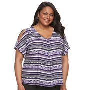 Plus Size Dana Buchman Cold-Shoulder Tie-Front Top