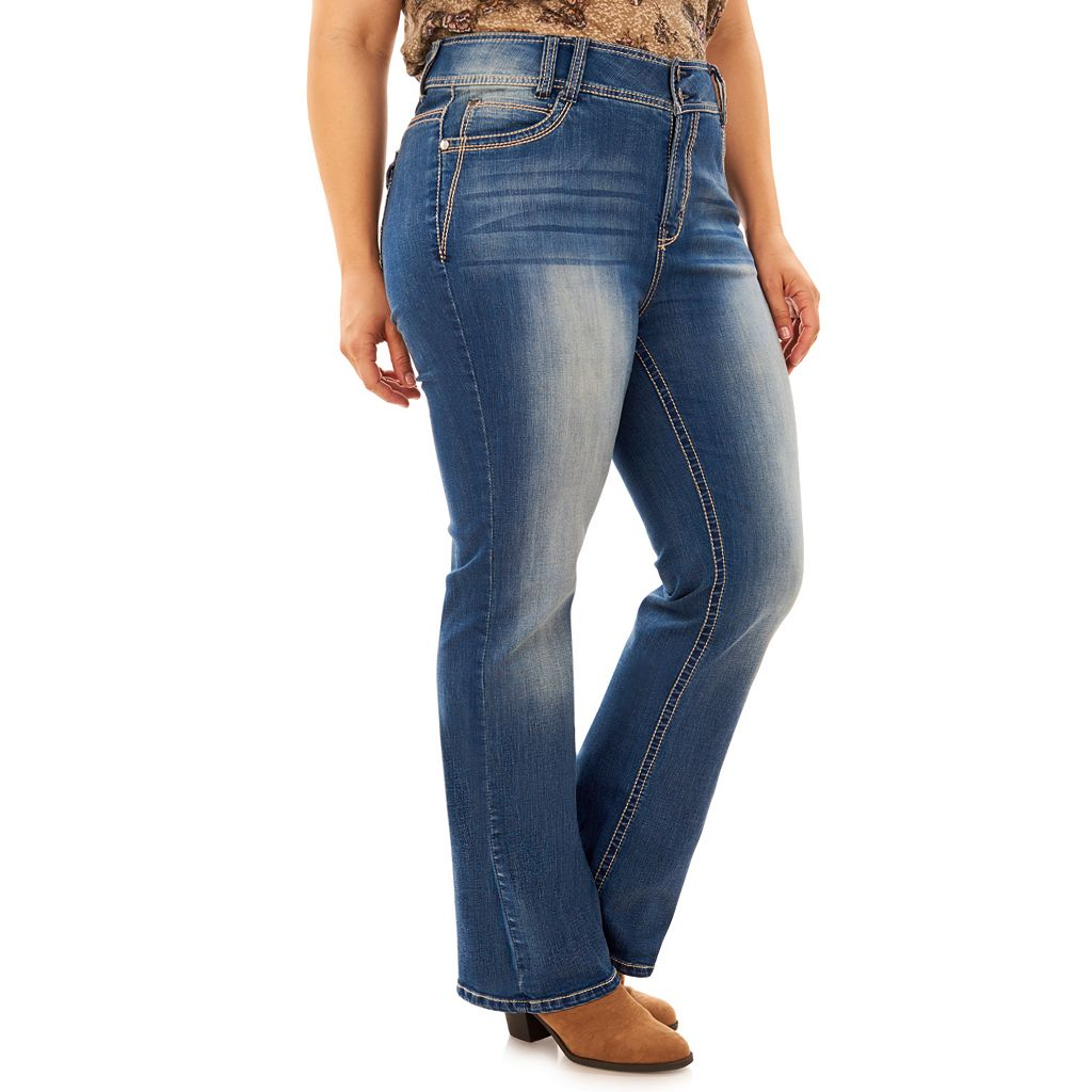 Juniors' Plus Size Wallflower Luscious Curvy Bootcut Jeans