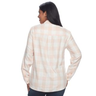 Juniors' Plus Size SO® Plaid Lurex Shirt