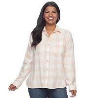 Juniors' Plus Size SO® Plaid Lurex Shirt