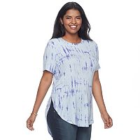 Juniors' Plus Size Mudd® Tie Dye High-Low Tee