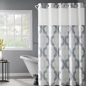 Hookless French Damask Print Coral Shower Curtain PEVA Liner Sale