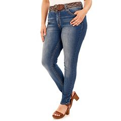 Juniors' Plus Size Wallflower Curvy Faded Skinny Jeans