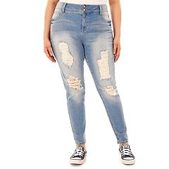 Juniors' Plus Size Wallflower Curvy Ripped Skinny Jeans