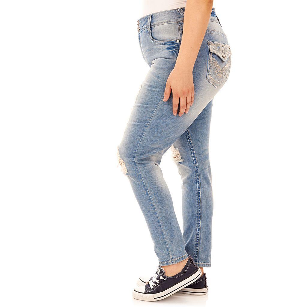Juniors' Plus Size Wallflower Curvy Ripped Skinny Jeans