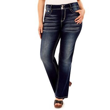 Juniors' Plus Size Wallflower Curvy Embellished Dark Wash Bootcut Jeans