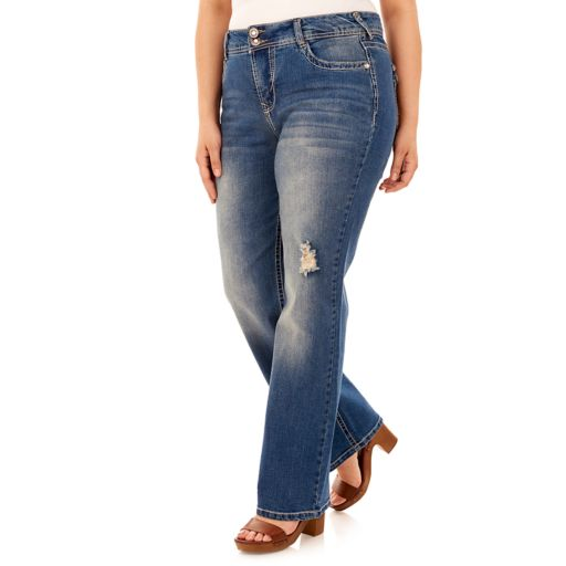 Juniors' Plus Size Wallflower Curvy Embellished Ripped Bootcut Jeans