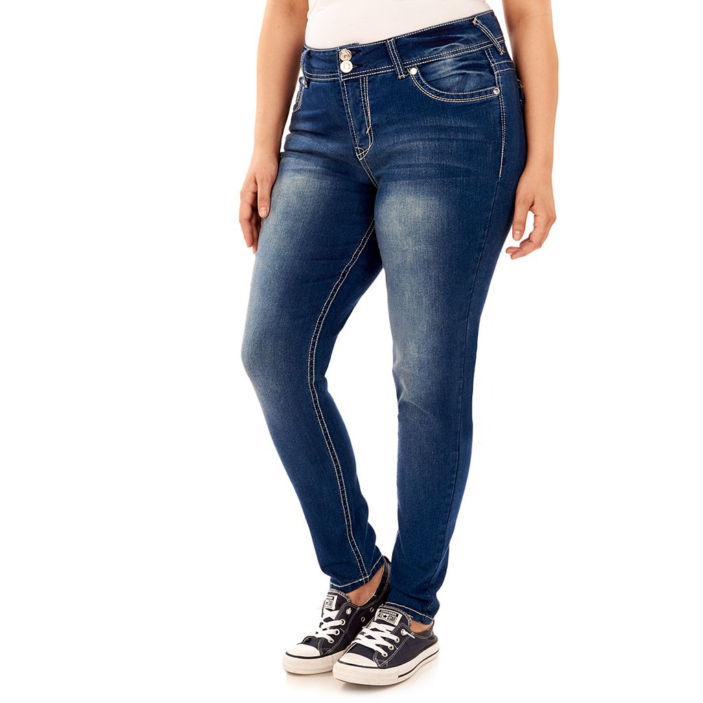 Juniors' Plus Size Wallflower Luscious Curvy Skinny Jeans