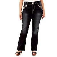 Juniors' Plus Size Wallflower Curvy Dark Wash Bootcut Jeans