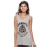 Juniors' Harry Potter Hogwarts Flocked Graphic Tank