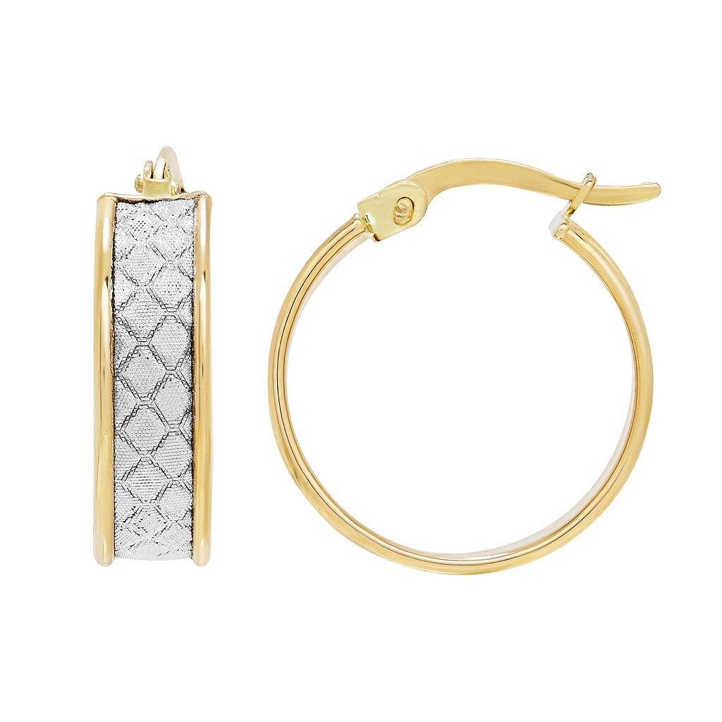 Everlasting Gold 14k Gold Glitter Geometric Hoop Earrings