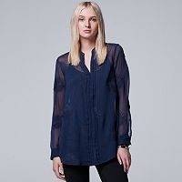 Women's Simply Vera Vera Wang Embroidered Pintuck Tunic