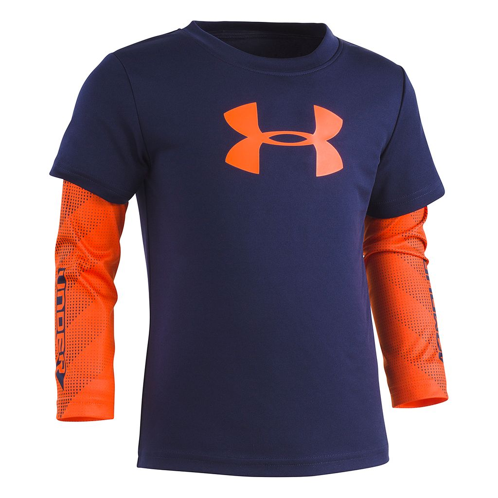 Toddler Boy Under Armour Mock-Layer Logo Long Sleeve Tee