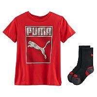 Boys 4-7 PUMA Red Graphic Tee & Socks Set