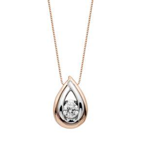 Sirena Collection Two Tone 14k Gold 1/5 Carat T.W. Diamond Teardrop Pendant