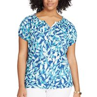 Plus Size Chaps Printed Henley