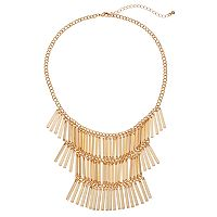 Tiered Bar Fringe Statement Necklace